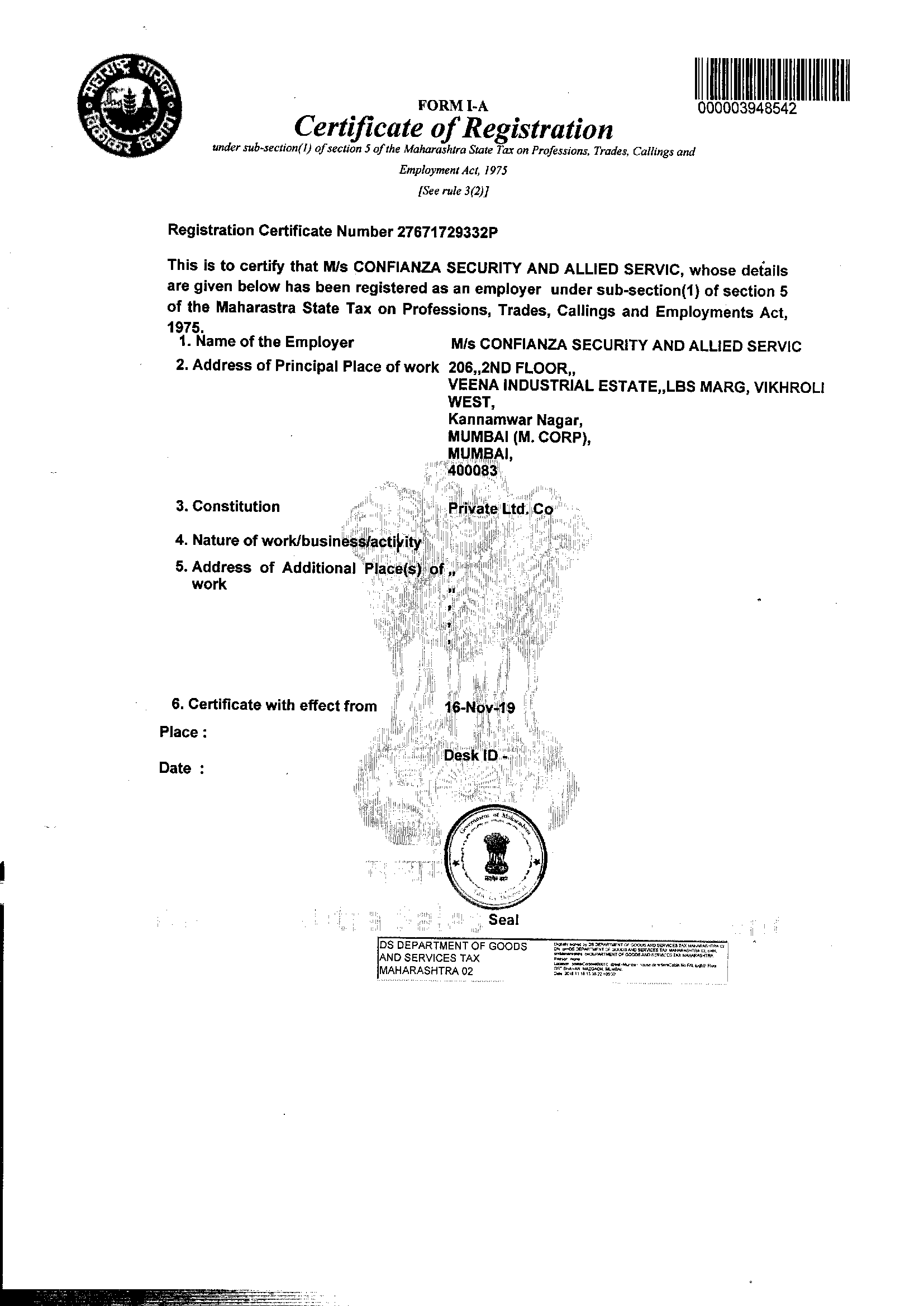 Certificate Of reg